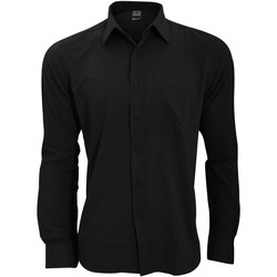 textil Herre Skjorter m. lange ærmer Henbury HB590 Black