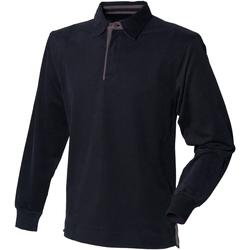 textil Herre Polo-t-shirts m. lange ærmer Front Row FR43M Black