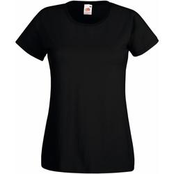textil Dame T-shirts m. korte ærmer Fruit Of The Loom 61372 Black