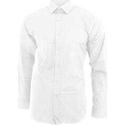 textil Herre Skjorter m. lange ærmer Brook Taverner BK130 White