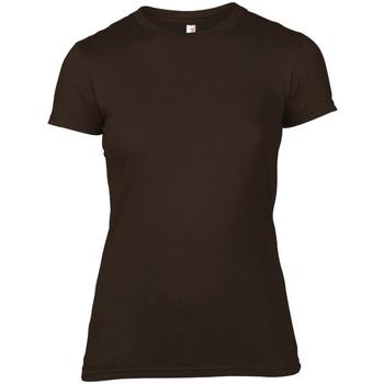 textil Dame T-shirts m. korte ærmer Anvil 379 Chocolate