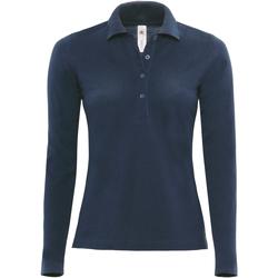 textil Dame Polo-t-shirts m. lange ærmer B And C B370L Navy