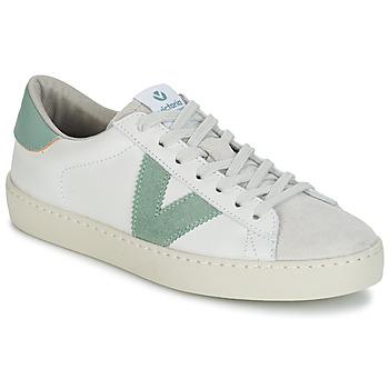 Sko Herre Lave sneakers Victoria BERLIN PIEL CONTRASTE Hvid / Grøn