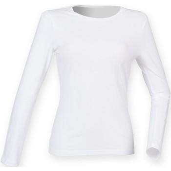 textil Dame Langærmede T-shirts Skinni Fit SK124 White